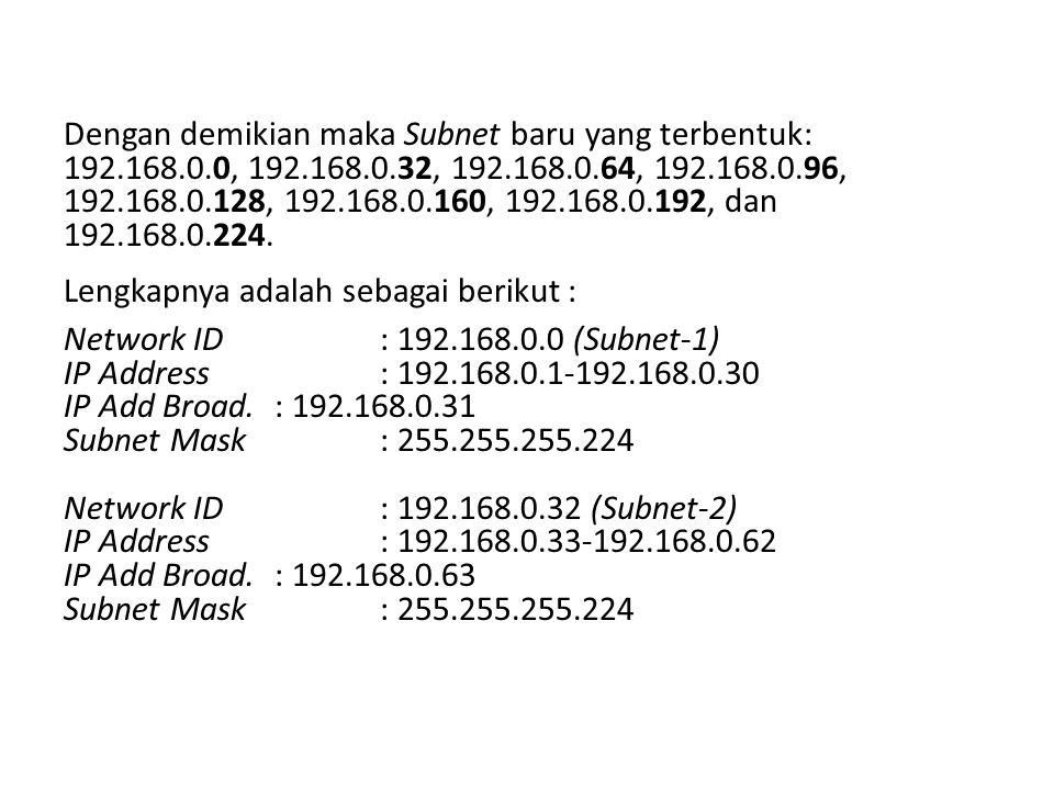 Dengan demikian maka Subnet baru yang terbentuk: 192. 168. 0, 192. 168