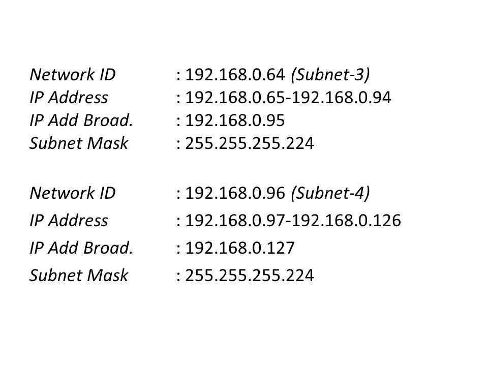Network ID : (Subnet-3) IP Address : IP Add Broad.