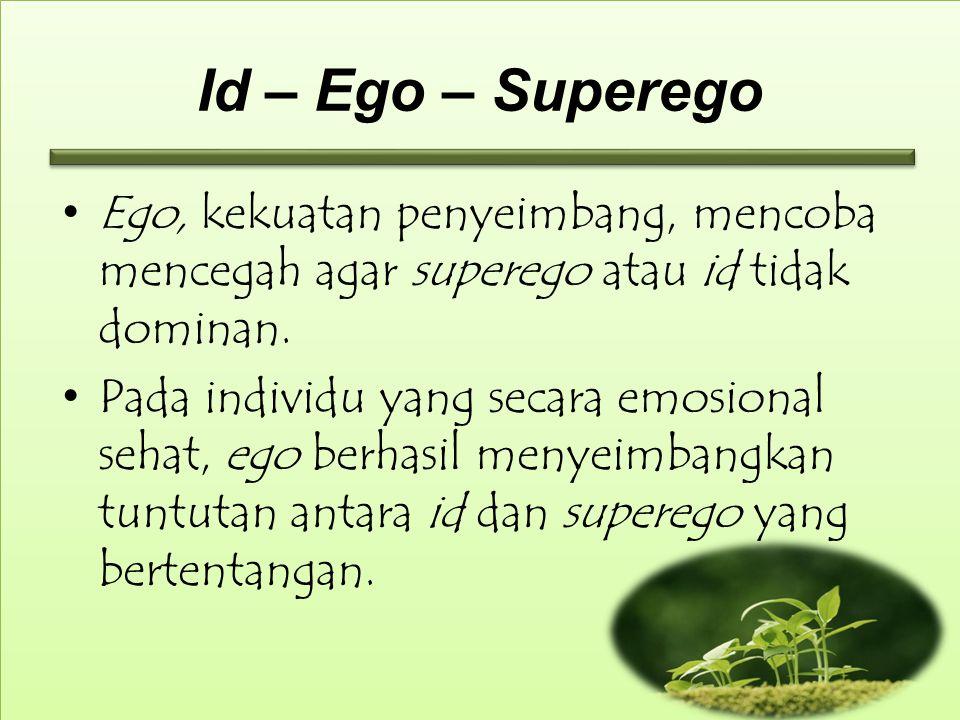 Id – Ego – Superego Ego, kekuatan penyeimbang, mencoba mencegah agar superego atau id tidak dominan.