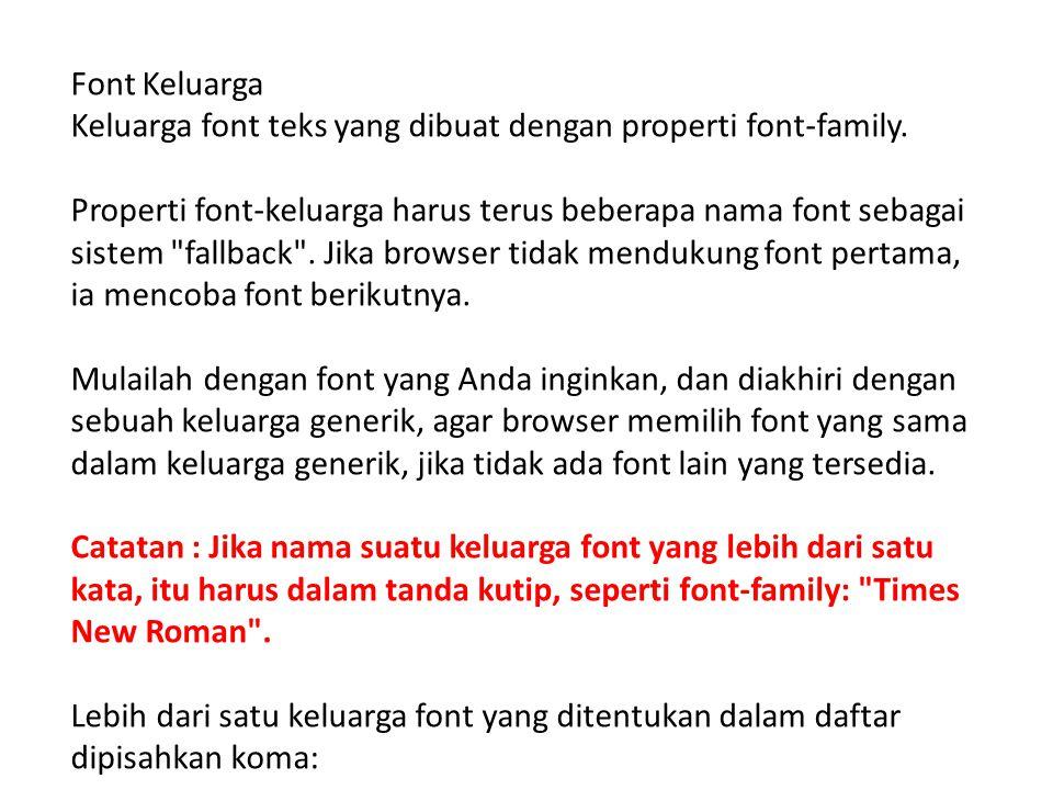 Font Keluarga Keluarga font teks yang dibuat dengan properti font-family.