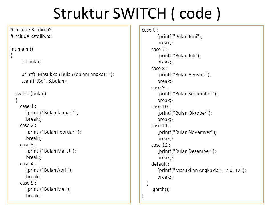 Struktur SWITCH ( code )