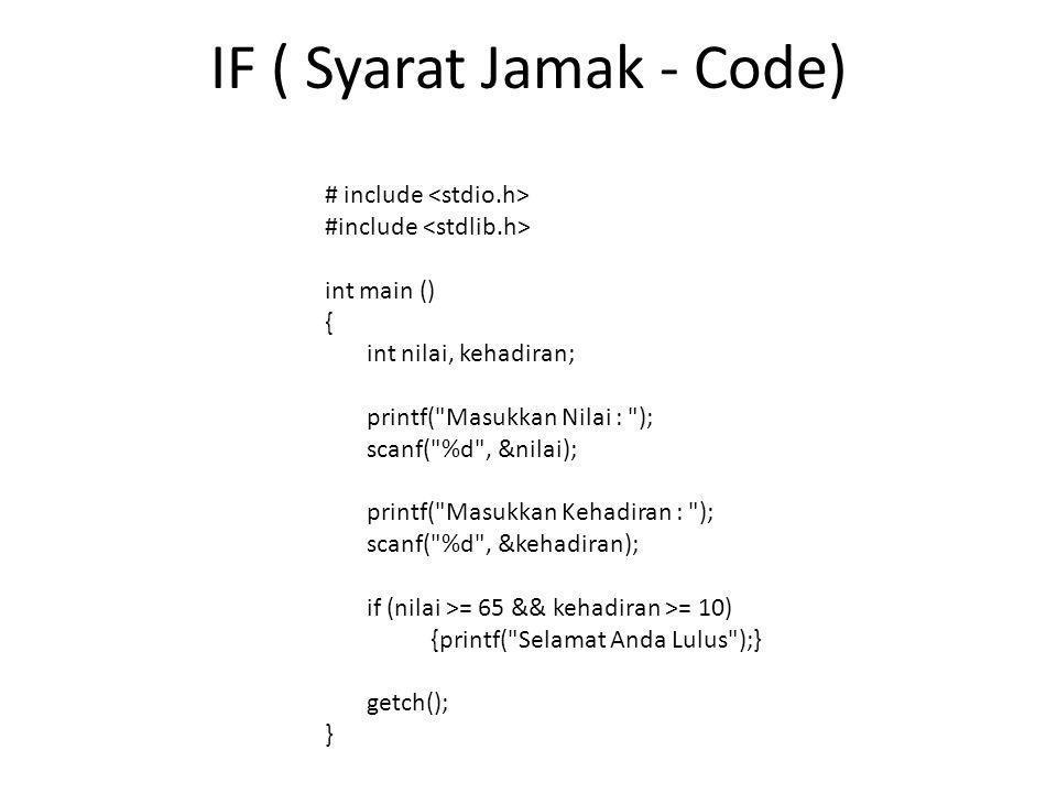 IF ( Syarat Jamak - Code)