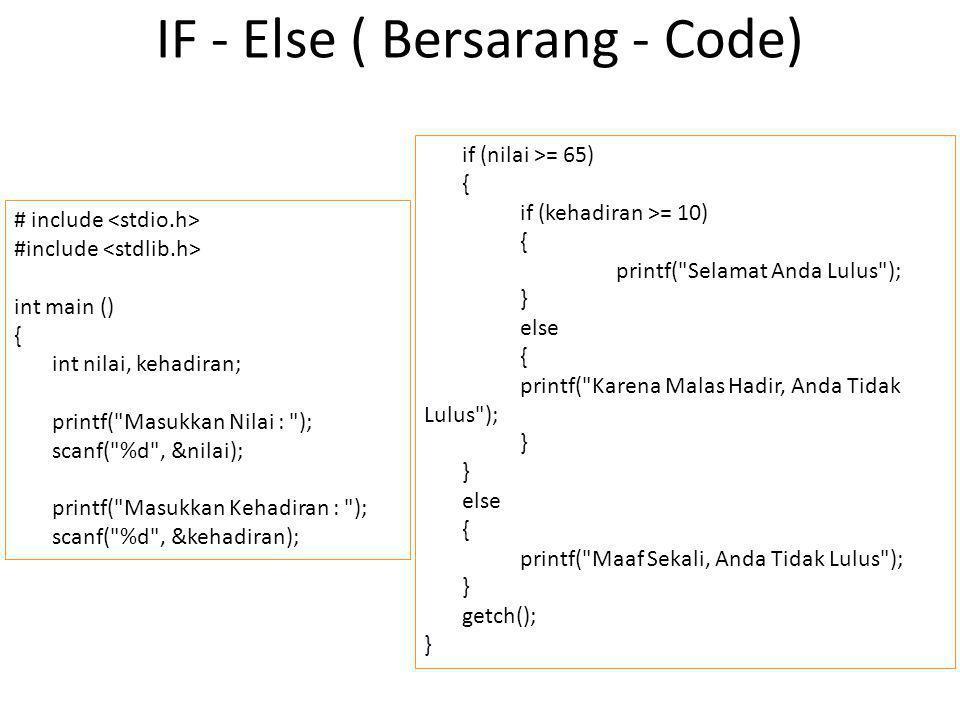IF - Else ( Bersarang - Code)