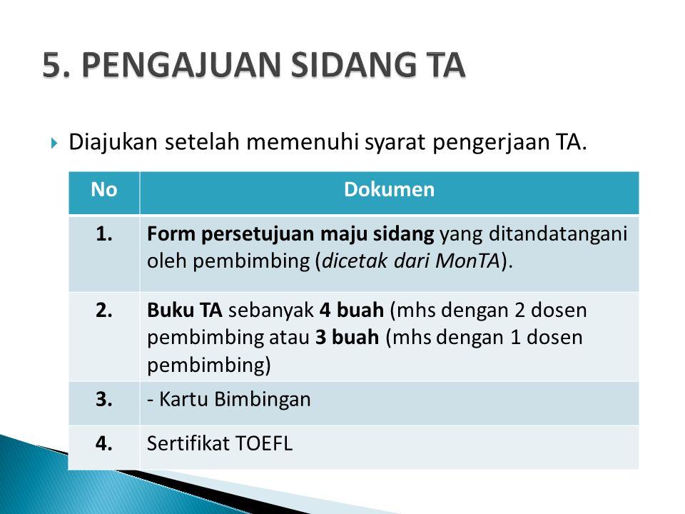 5. PENGAJUAN SIDANG TA Diajukan setelah memenuhi syarat pengerjaan TA.