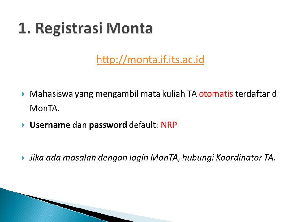 1. Registrasi Monta http://monta.if.its.ac.id