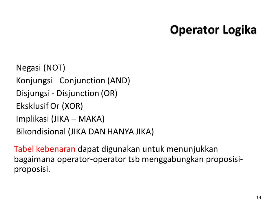 Operator Logika Negasi (NOT) Konjungsi - Conjunction (AND)