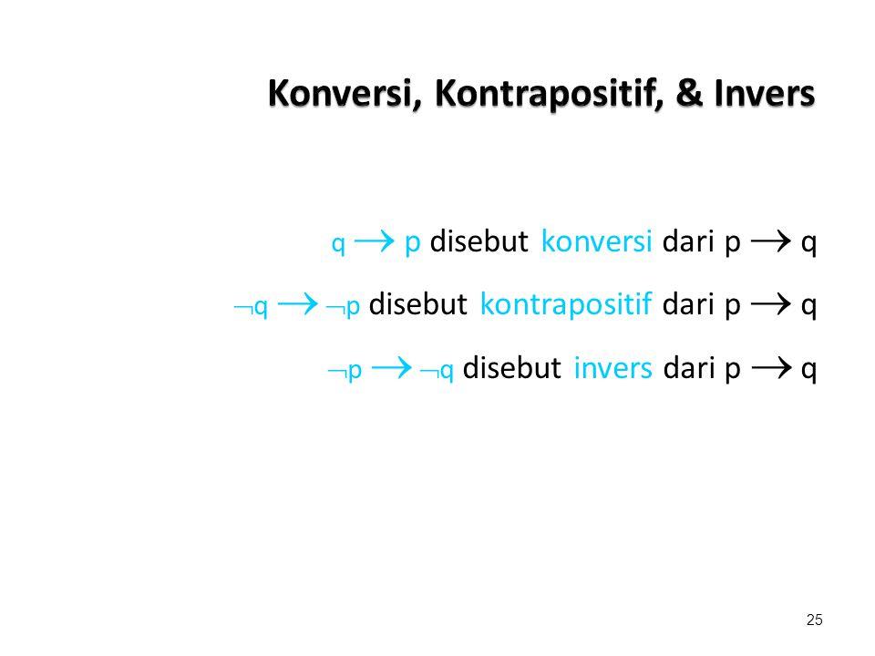 Konversi, Kontrapositif, & Invers