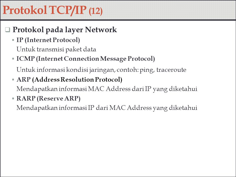Protokol TCP/IP (12) Protokol pada layer Network