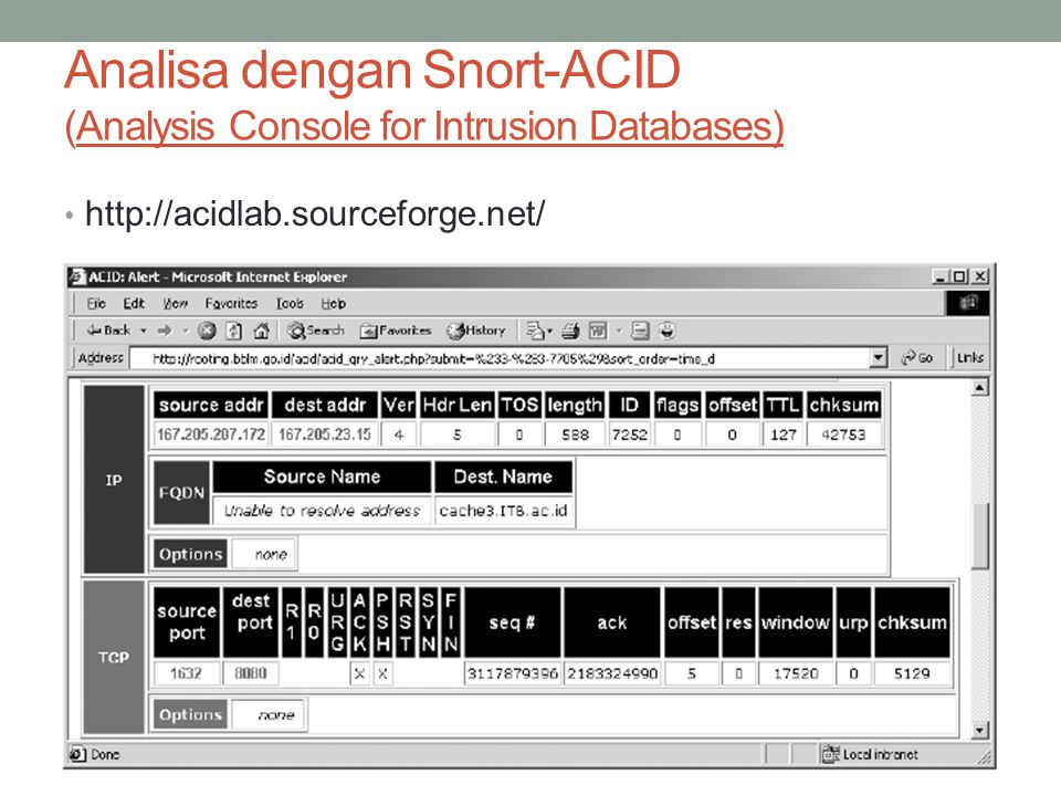 Analisa dengan Snort-ACID (Analysis Console for Intrusion Databases)
