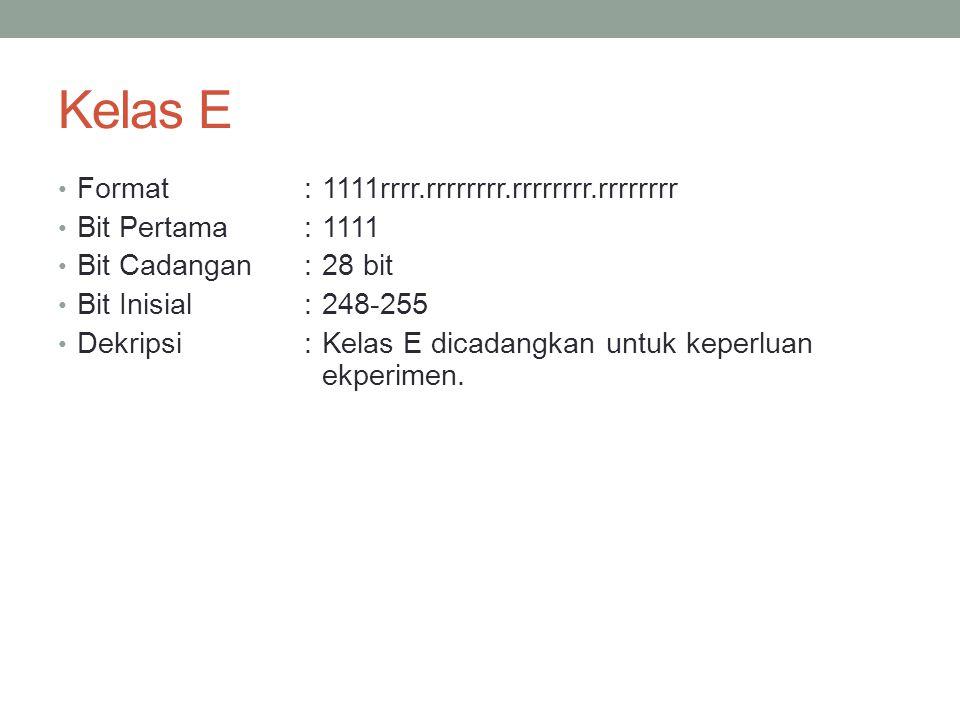 Kelas E Format : 1111rrrr.rrrrrrrr.rrrrrrrr.rrrrrrrr