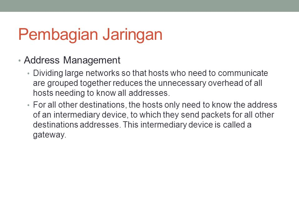 Pembagian Jaringan Address Management