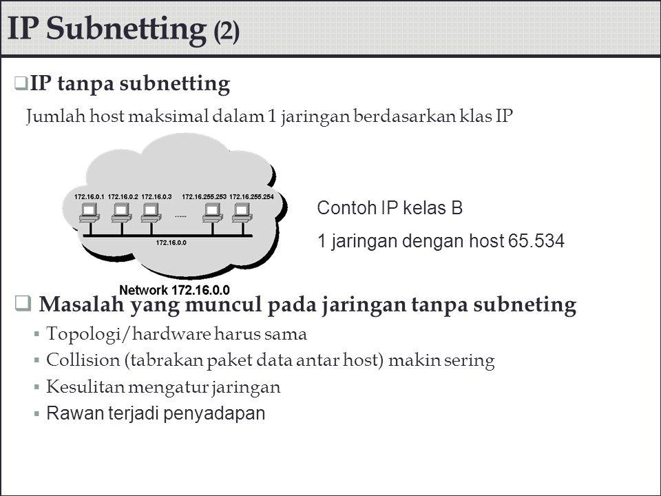 IP Subnetting (2) Masalah yang muncul pada jaringan tanpa subneting