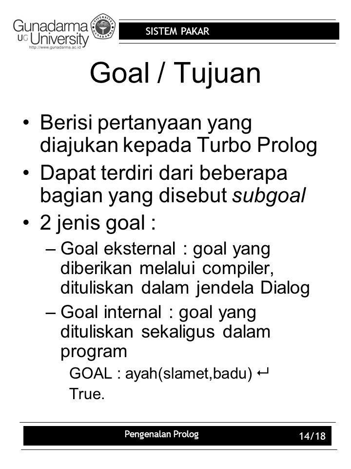 Goal / Tujuan Berisi pertanyaan yang diajukan kepada Turbo Prolog