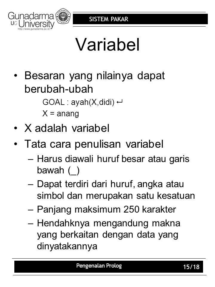 Variabel Besaran yang nilainya dapat berubah-ubah X adalah variabel
