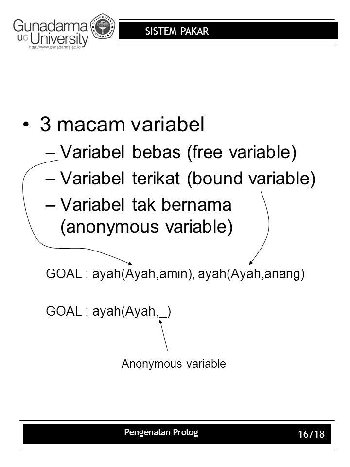 3 macam variabel Variabel bebas (free variable)