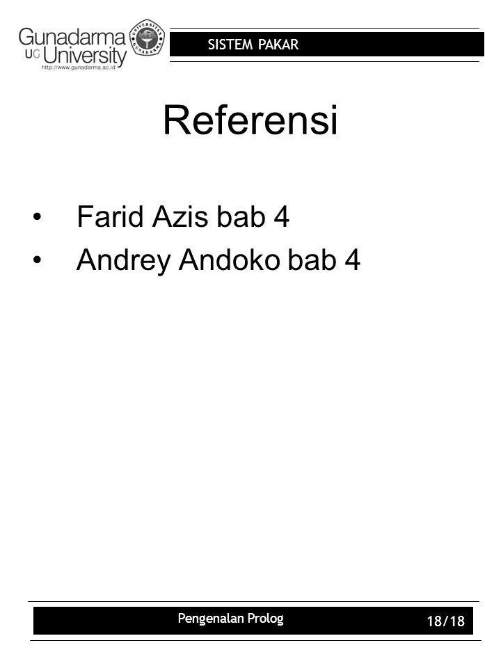Referensi Farid Azis bab 4 Andrey Andoko bab 4 Pengenalan Prolog