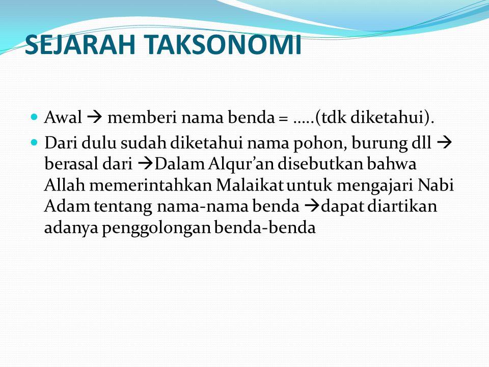 SEJARAH TAKSONOMI Awal  memberi nama benda = …..(tdk diketahui).