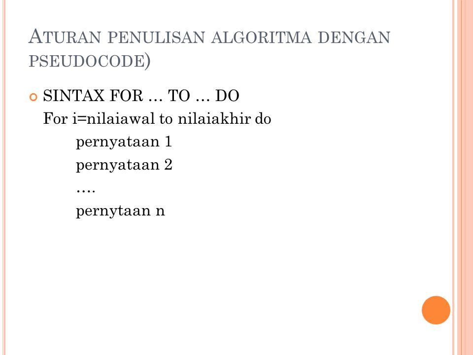 Aturan penulisan algoritma dengan pseudocode)