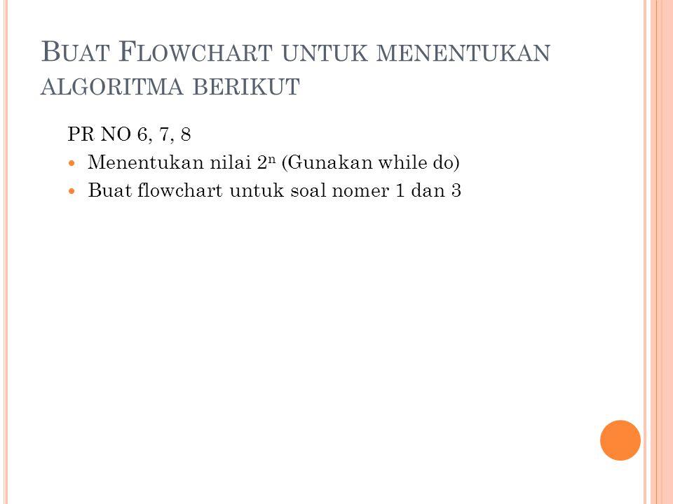 Buat Flowchart untuk menentukan algoritma berikut