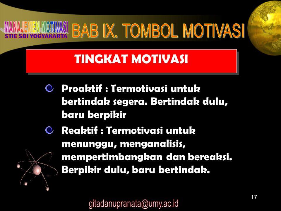 TINGKAT MOTIVASI Proaktif : Termotivasi untuk bertindak segera. Bertindak dulu, baru berpikir.