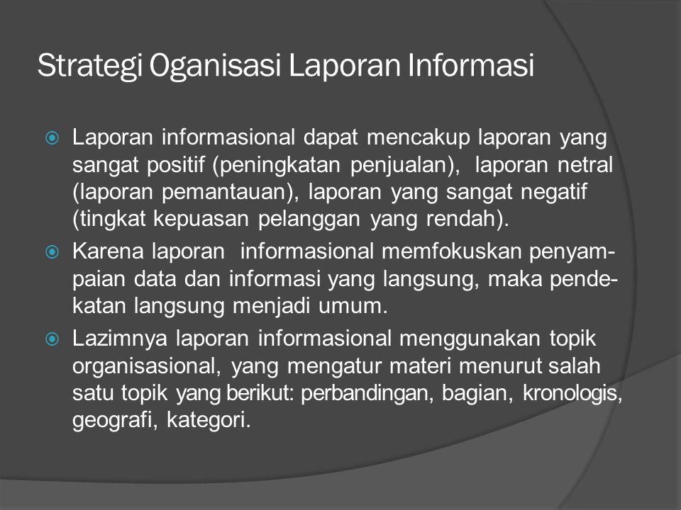 Strategi Oganisasi Laporan Informasi