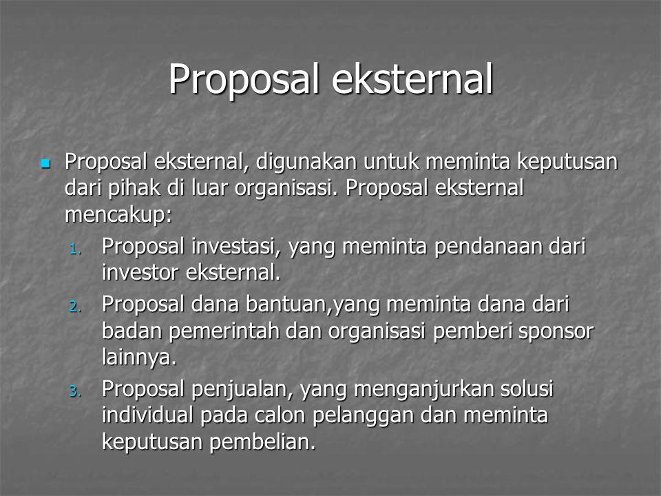 Proposal eksternal Proposal eksternal, digunakan untuk meminta keputusan dari pihak di luar organisasi. Proposal eksternal mencakup: