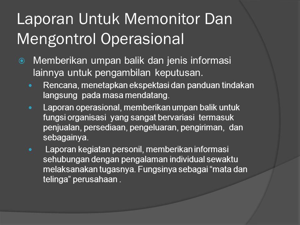 Laporan Untuk Memonitor Dan Mengontrol Operasional