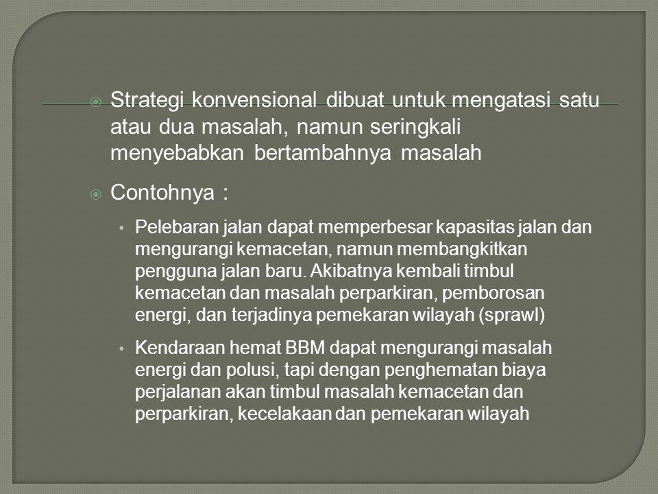 Strategi konvensional dibuat untuk mengatasi satu atau dua masalah, namun seringkali menyebabkan bertambahnya masalah