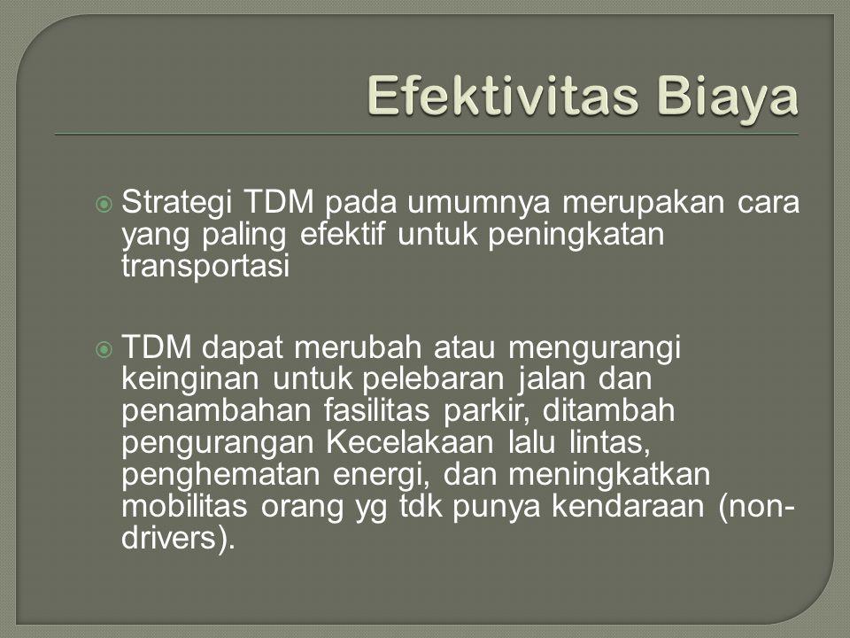 Efektivitas Biaya Strategi TDM pada umumnya merupakan cara yang paling efektif untuk peningkatan transportasi.