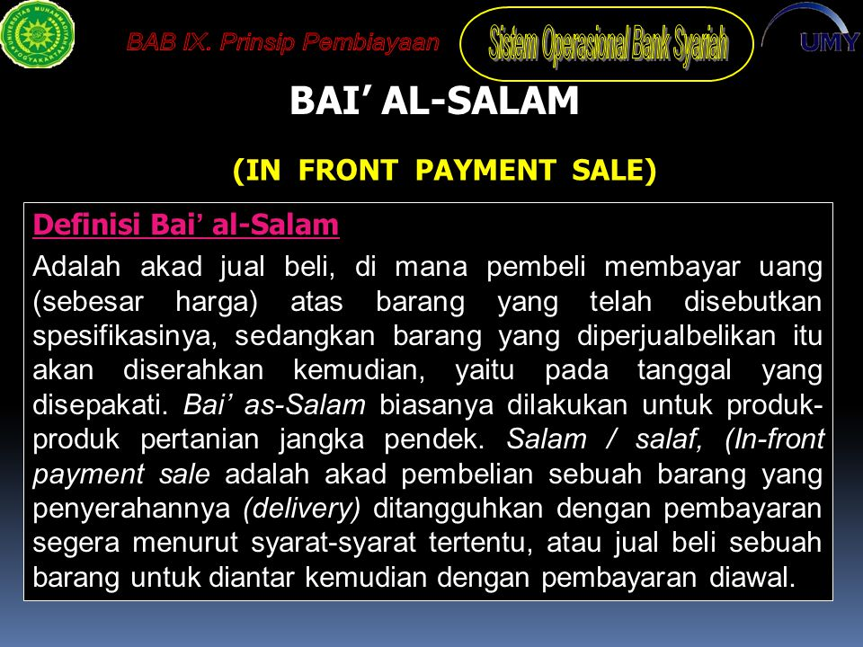 (IN FRONT PAYMENT SALE)