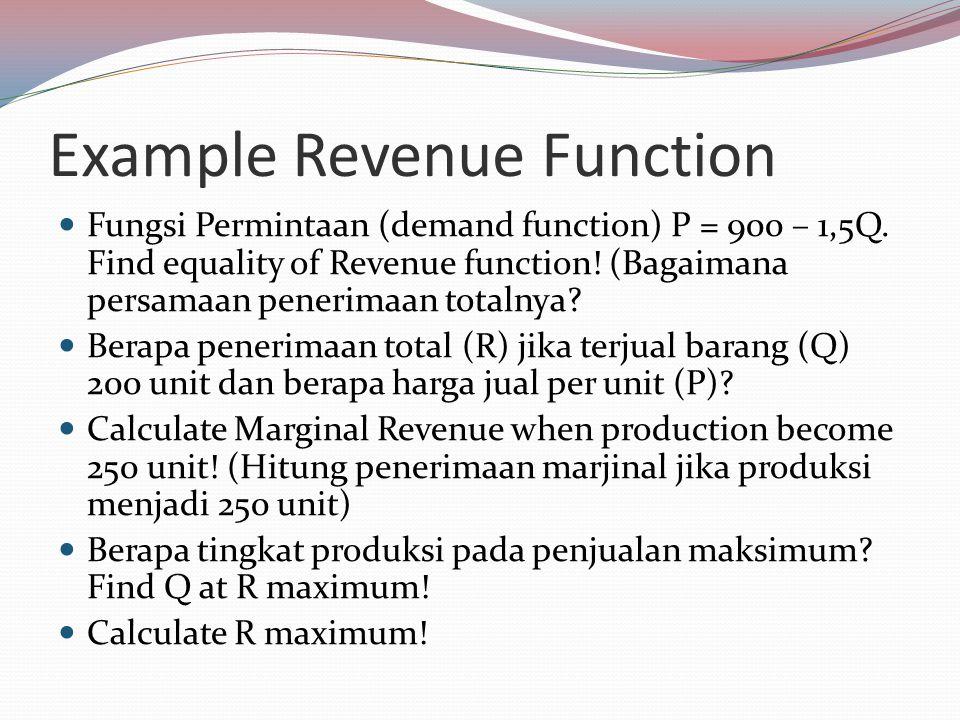 Example Revenue Function