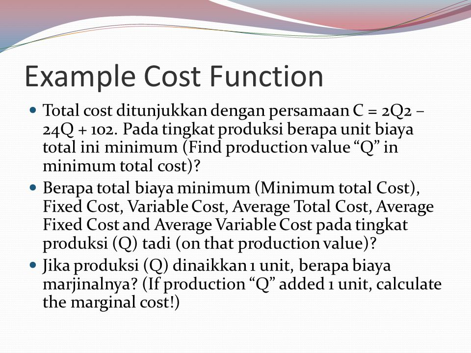 Example Cost Function