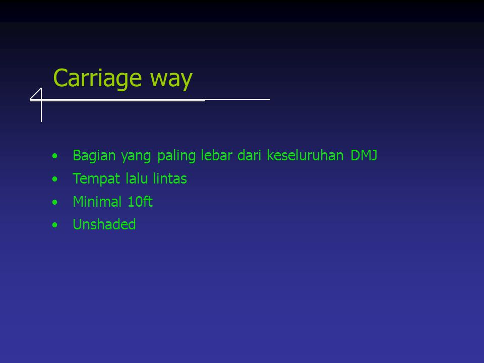 Carriage way Bagian yang paling lebar dari keseluruhan DMJ