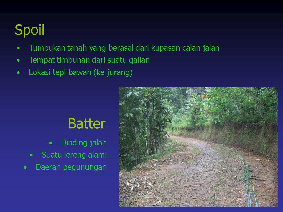 Spoil Batter Tumpukan tanah yang berasal dari kupasan calan jalan