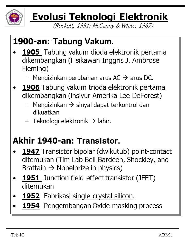 Evolusi Teknologi Elektronik (Rockett, 1991; McCanny & White, 1987)