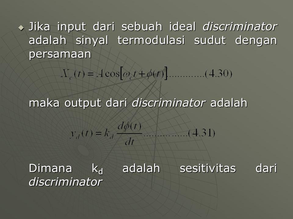 Jika input dari sebuah ideal discriminator adalah sinyal termodulasi sudut dengan persamaan