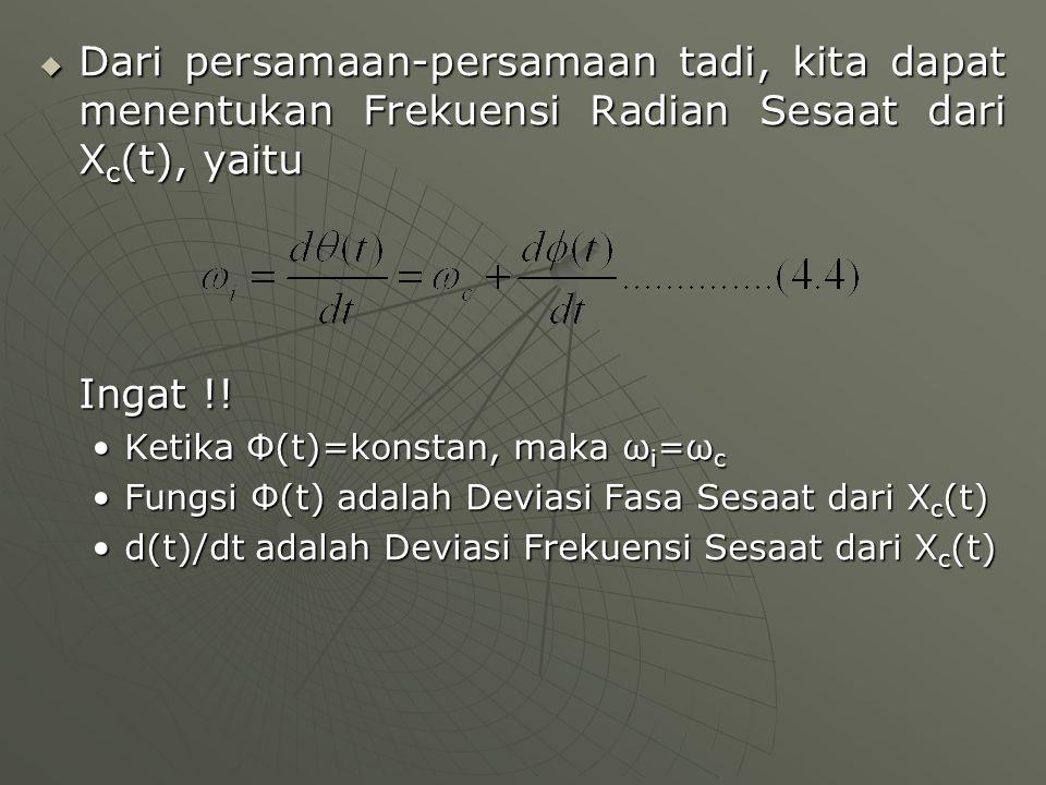 Dari persamaan-persamaan tadi, kita dapat menentukan Frekuensi Radian Sesaat dari Xc(t), yaitu
