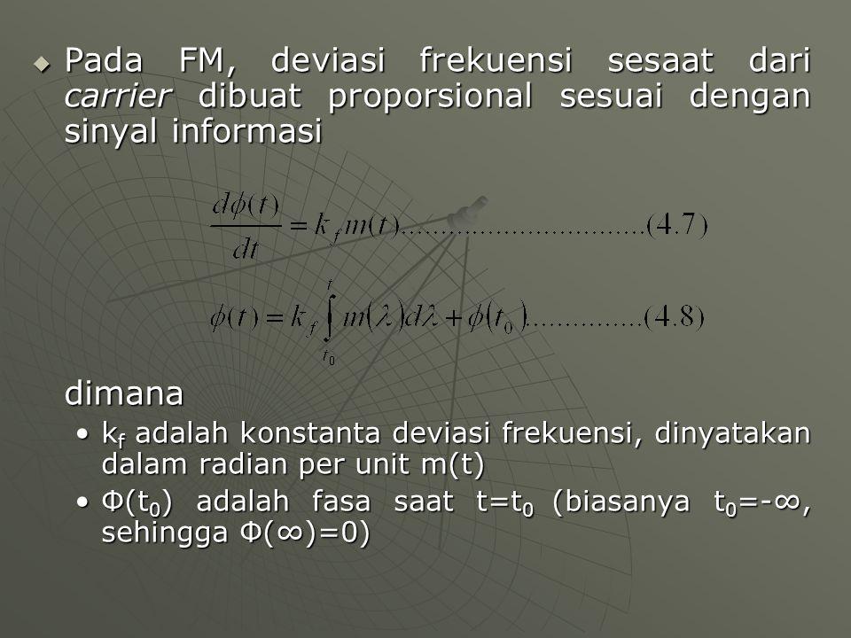 Pada FM, deviasi frekuensi sesaat dari carrier dibuat proporsional sesuai dengan sinyal informasi