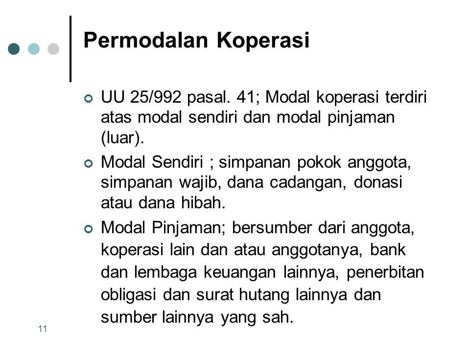 Permodalan Koperasi UU 25/992 pasal. 41; Modal koperasi terdiri atas modal sendiri dan modal pinjaman (luar).