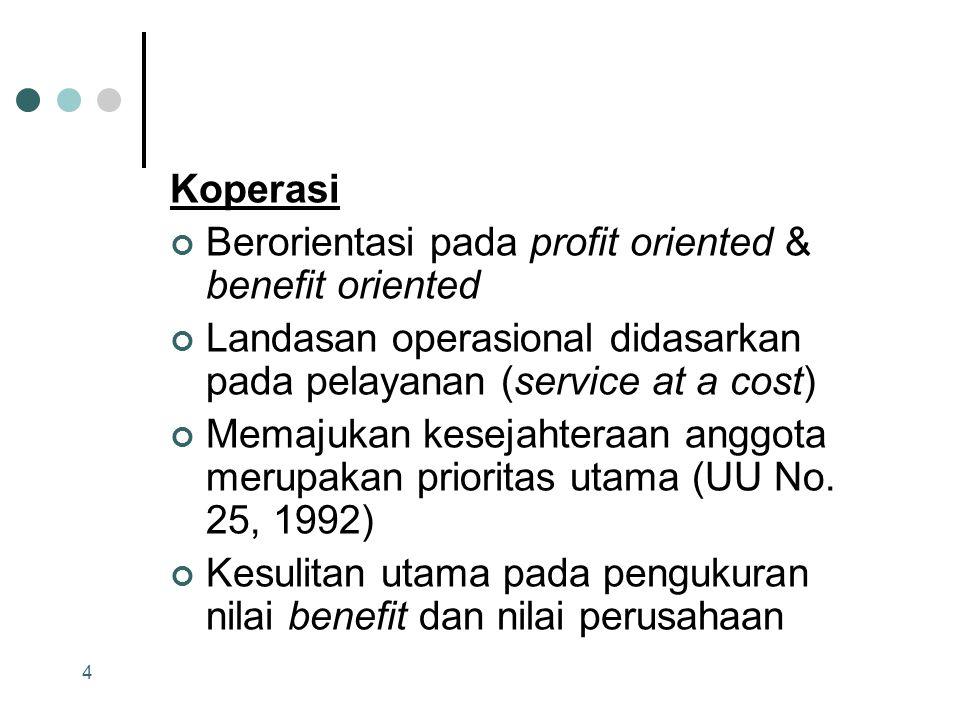 Koperasi Berorientasi pada profit oriented & benefit oriented. Landasan operasional didasarkan pada pelayanan (service at a cost)