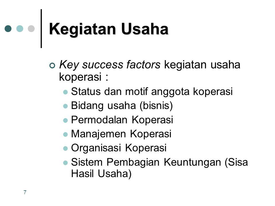 Kegiatan Usaha Key success factors kegiatan usaha koperasi :