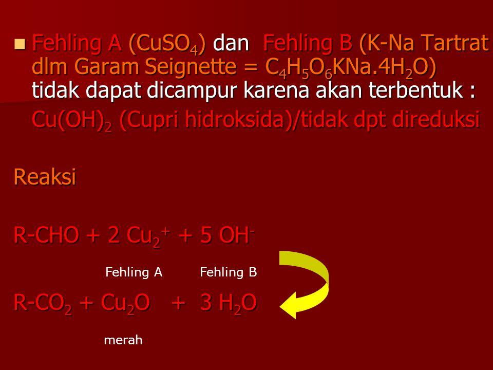 Cu(OH)2 (Cupri hidroksida)/tidak dpt direduksi Reaksi