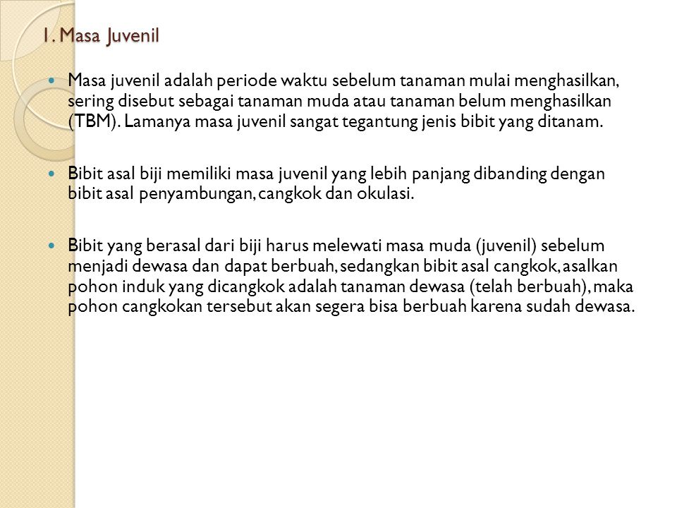 1. Masa Juvenil