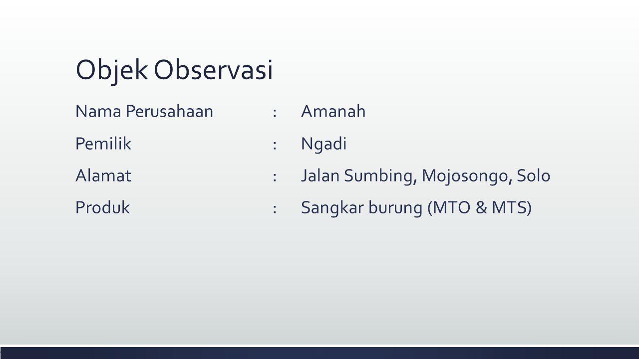 Objek Observasi Nama Perusahaan : Amanah Pemilik : Ngadi Alamat : Jalan Sumbing, Mojosongo, Solo Produk : Sangkar burung (MTO & MTS)