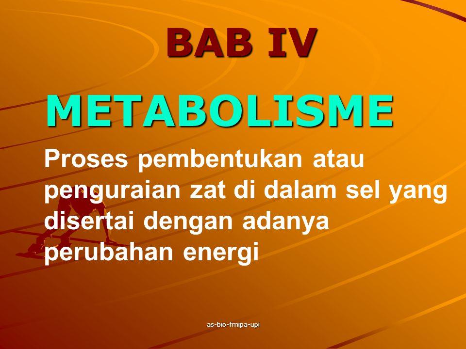 BAB IV METABOLISME. Proses pembentukan atau penguraian zat di dalam sel yang disertai dengan adanya perubahan energi.