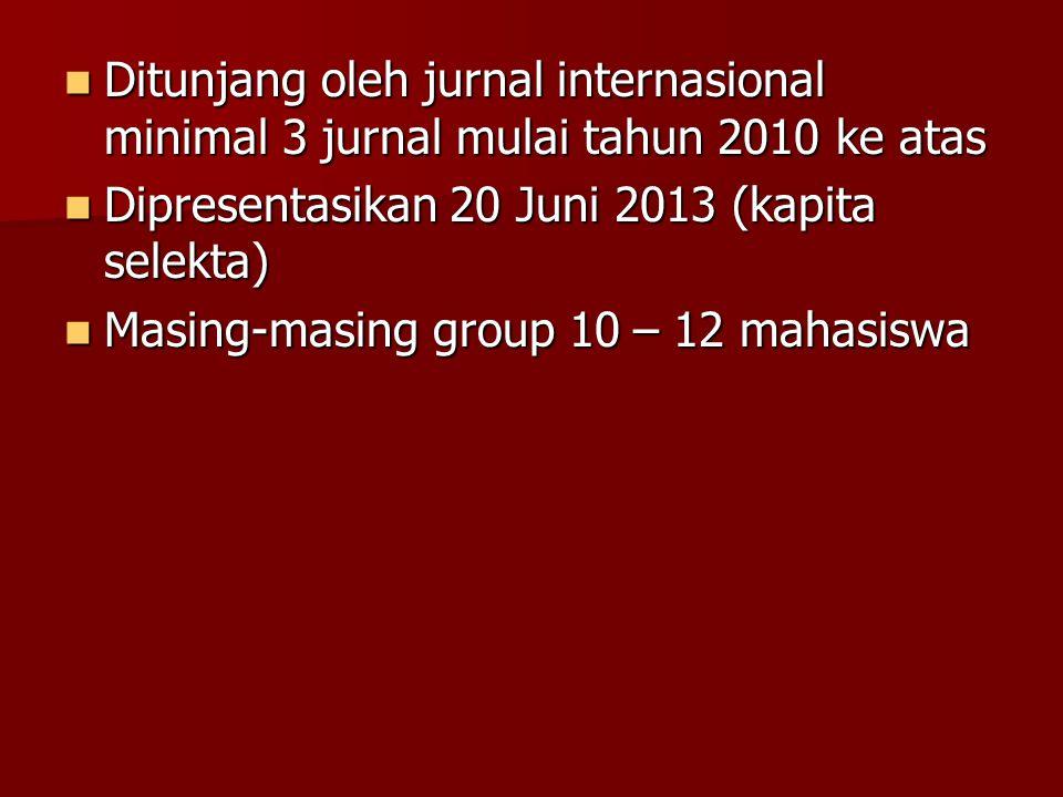 Ditunjang oleh jurnal internasional minimal 3 jurnal mulai tahun 2010 ke atas