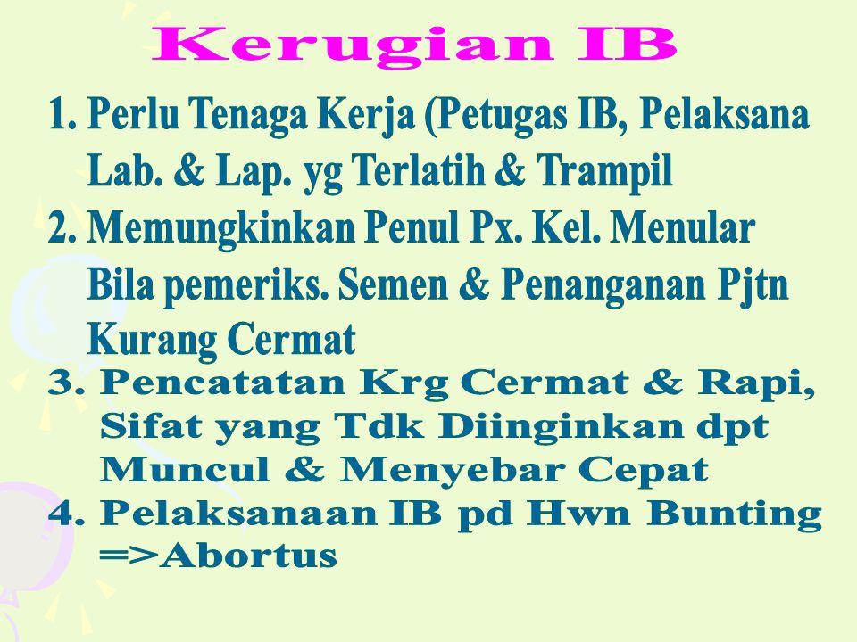 Kerugian IB 1. Perlu Tenaga Kerja (Petugas IB, Pelaksana. Lab. & Lap. yg Terlatih & Trampil. 2. Memungkinkan Penul Px. Kel. Menular.