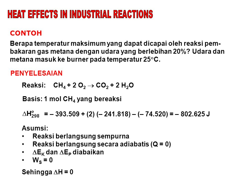 HEAT EFFECTS IN INDUSTRIAL REACTIONS