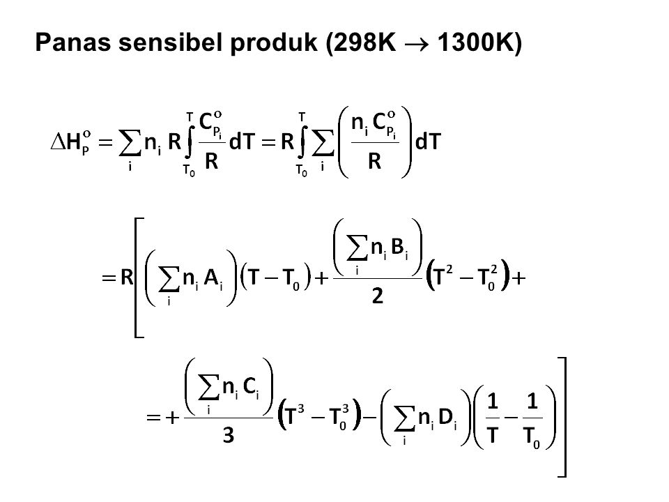 Panas sensibel produk (298K  1300K)
