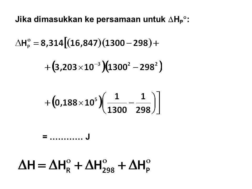 Jika dimasukkan ke persamaan untuk HP: